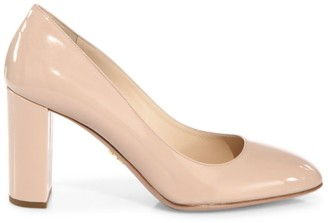 Prada Block-Heel Patent Leather Pumps