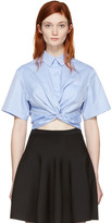 Alexander Wang Blue Twist Short Sleeve Cropped Shirt