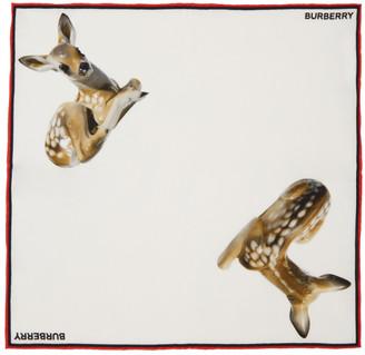 Burberry White Silk Deer Pocket Square