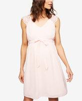 A Pea in the Pod Maternity Lace-Trim A-Line Dress