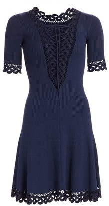 Jonathan Simkhai Compact Crochet Fit-&-Flare Dress