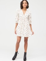 Very Printed Cotton Smock Dress - Red Floral