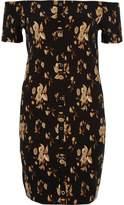 River Island Womens Black floral print bardot bodycon mini dress