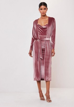 Missguided Blush Velvet Midi Dress And Kimono Jacket Co Ord Set