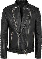 Balmain Black Quilted Leather Biker Jacket