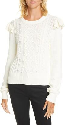 Veronica Beard Earl Ruffle Cable Knit Sweater