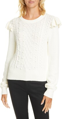 Veronica Beard Earl Ruffle Shoulder Cable Knit Sweater