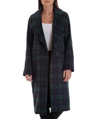 AVEC LES FILLES Double-Face Plaid Wool-Blend Raglan Coat