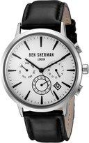 Ben Sherman Men's 'Portobello Professional' Quartz Stainless Steel and Leather Watch, Color:Black (Model: WB028WA)
