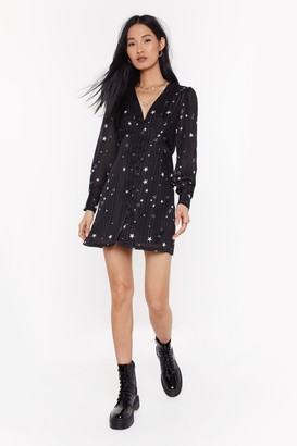 Nasty Gal Womens All The Stars Button-Down Dress - Black - S, Black