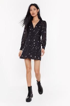 Nasty Gal Womens All the Stars Button-Down Dress - black - S