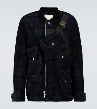 Sacai Checked corduroy jacket with bag