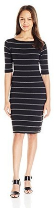 Lucy-Love Lucy Love Women's Film Festival Stripe Bonded Knit Dress