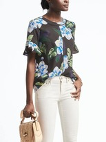 Banana Republic Easy Care Floral Flutter Sleeve Top