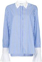 Muveil embellished collar stripe shirt