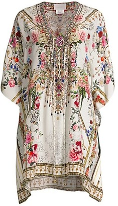Camilla Floral Silk Lace-Up Kaftan