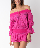 Fuchsia Eyelet Off-Shoulder Cover-Up