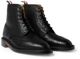 Thom Browne Pebble-Grain Leather Brogue Boots