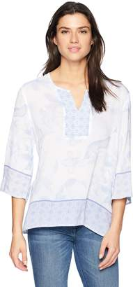Tribal Women's Floral 3/4 Sleeve Woven Blouse