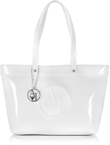 Armani Jeans White Eco Patent Leather Large Tote Bag