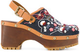 See by Chloe floral embroidered clogs - women - Cotton/Calf Leather/wood/rubber - 36