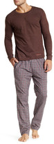 Bottoms Out Long Sleeve Tee & Woven PJ Pant Set