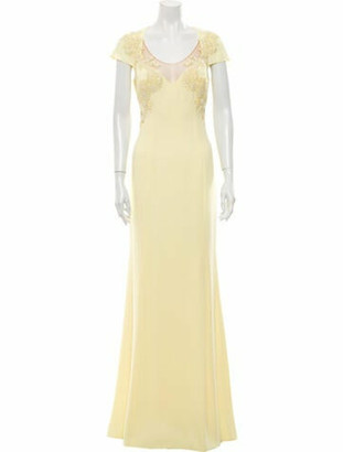 Marchesa Notte Scoop Neck Long Dress w/ Tags Yellow