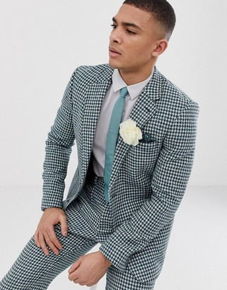 Asos Design DESIGN slim Harris Tweed suit jacket in teal and white houndstooth-Green