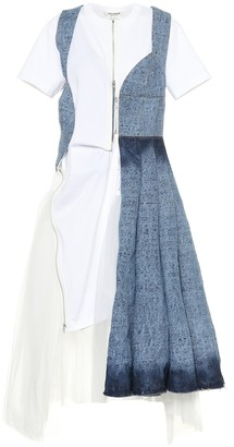 Junya Watanabe Denim and tulle midi dress