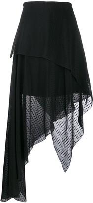 Amiri Asymmetric Polka Dot Skirt
