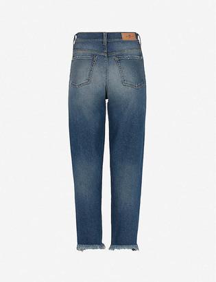 7 For All Mankind Malia straight high-rise stretch-denim jeans
