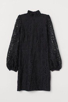 H&M Lace Stand-up Collar Dress - Black