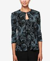 Alex Evenings Glitter Paisley-Print Jacket and Shell