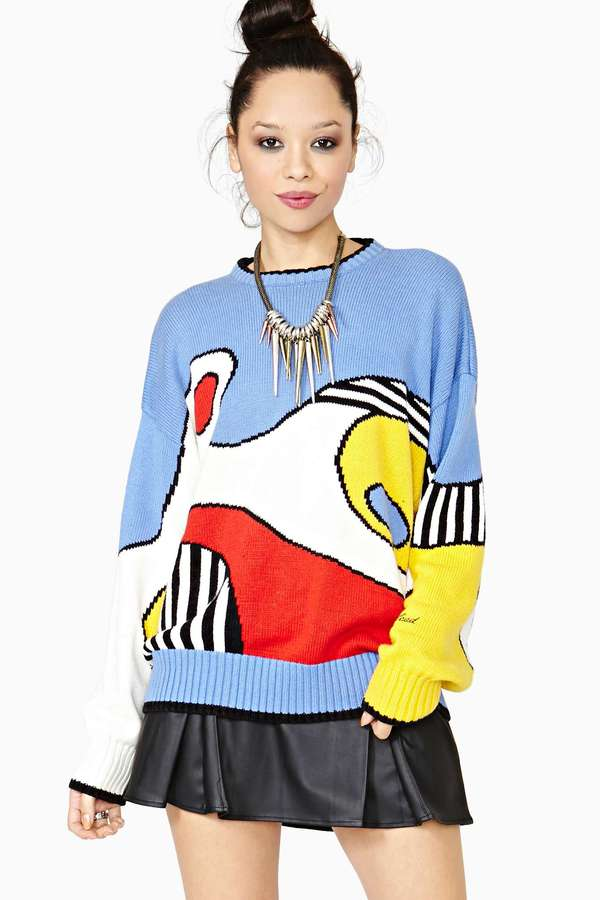 Nasty Gal Abstract Motion Sweater