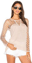 Central Park West Aurora Open Knit Sweater in Tan. - size S (also in )