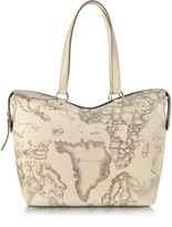 Alviero Martini Large Geo Safari Coated Canvas Tote w/Cream Leather Details