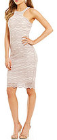 Honey and Rosie Sleeveless High-Neckline Scalloped-Hem Glitter Lace Sheath Dress