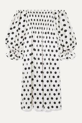 Sleeper Atlanta Off-the-shoulder Shirred Polka-dot Silk-satin Midi Dress - White