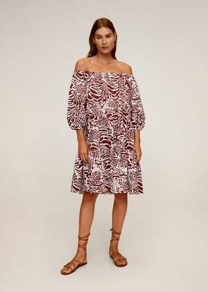 MANGO Printed off-shoulder dress maroon - 10 - Women