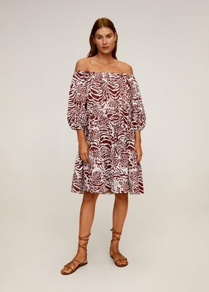 MANGO Printed off-shoulder dress