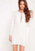 Missguided Studded Shift Dress White
