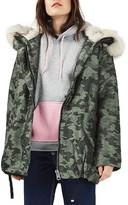 Topshop Women's Toddy Faux Fur Hood Parka