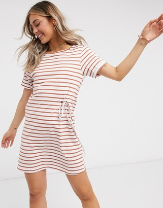 Brave Soul adia stripe t shirt dress with tie detail