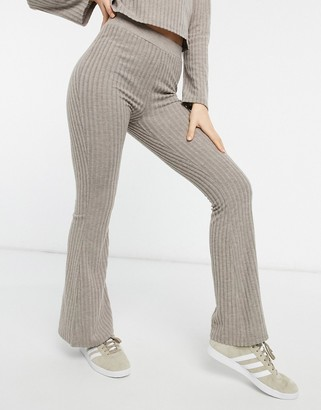 Pimkie ribbed flare trousers in beige (co-ord)