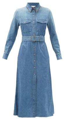 Chloé Embroidered-collar Belted Denim Shirt Dress - Denim