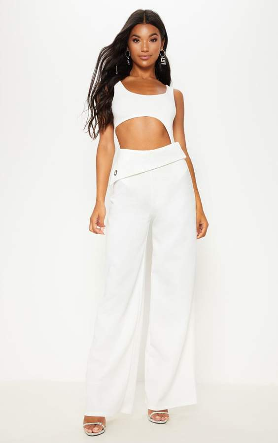 PrettyLittleThing Cream Scuba Turn Over Waist Wide Leg Trouser
