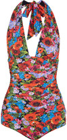 Dolce & Gabbana Printed Ruched Halterneck Swimsuit - Red