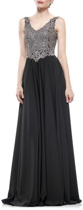 MARSONI Lace & Faille A-Line Gown