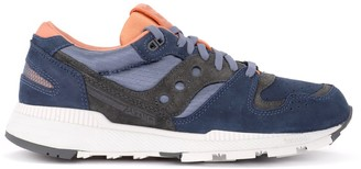 Saucony Azura Sneaker In Blue And Brown Microsuede