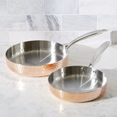 Crate & Barrel Fleischer and Wolf Seville Hammered Tri-Ply Copper Fry Pans Set of Two
